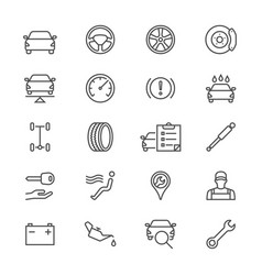 Auto service thin icons vector