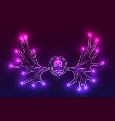 Contour neon of moose antlers with sparks vector
