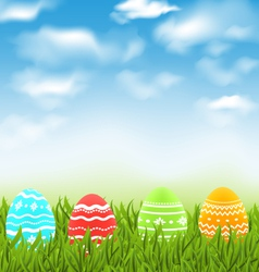 Easter natural landscape with traditional colorful vector