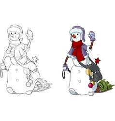 Funny snowman walking the new year character vector
