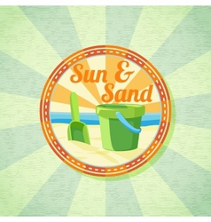 Sun sand spade and bucket on the summer shore vector