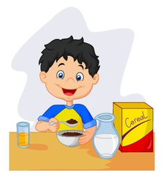 Little girl having breakfast cereals with milk vector