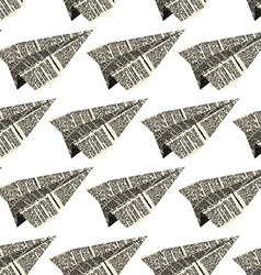 Paper plane from old newspapers seamless patetrn vector