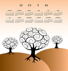 2016 Creative tree calendar vector image