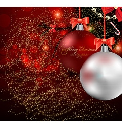 Romantic Red Christmas Background vector image