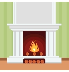 Fireplace in flat design style vector