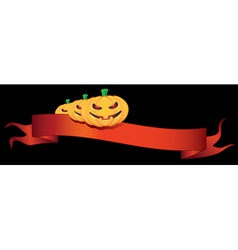 Ribbon with halloween pumpkins vector
