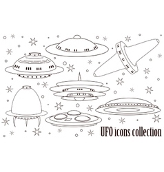 Flying Saucer Spaceship And UFO Set vector image