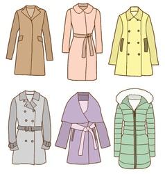A set of women coats vector