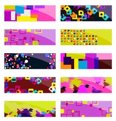 Abstract colorful header set design vector image