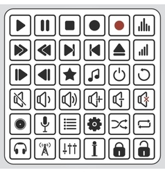 Audio player buttons sound icons vector