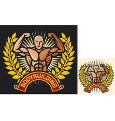 Bodybuilding badge vector