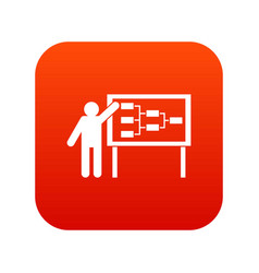 Businessman and presentation screen icon digital vector