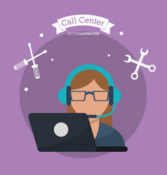 Call center woman laptop headset vector