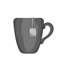 Ceramic mug with teabag label icon vector