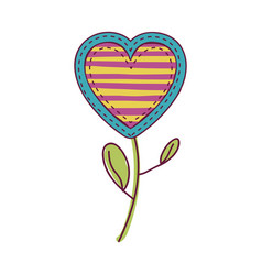 Colorful heart flower shape with lines pattern and vector