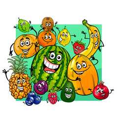cute fruit characters group cartoon vector image vector image