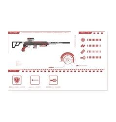 Details of gun sniper rifle game perks vector