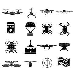 Drone icons set vector image vector image