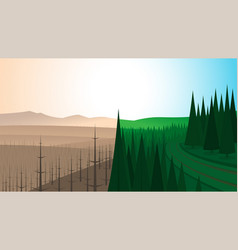 Forest landscape before and after fire vector