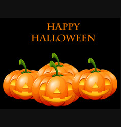 Happy halloween card with jack o lanterns vector