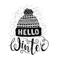 Hello winter text and knitted woolen cap Seasonal vector image vector image