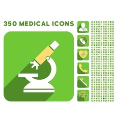 Labs microscope icon and medical longshadow icon vector