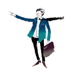 man holding suitcase vector image vector image