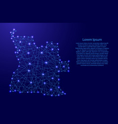 Map of angola from polygonal blue lines vector
