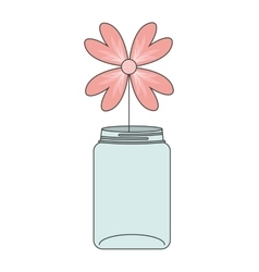 Mason jar with flower deoration vector