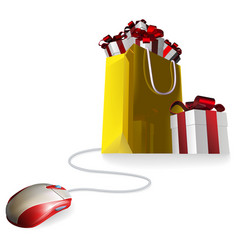Mouse gift shopping bag vector