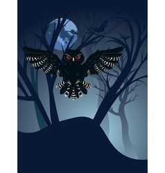 Owl in the night forest4 vector