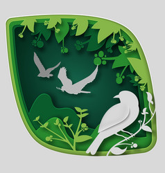 paper art carve to bird on tree branch in forest vector image vector image
