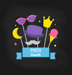 Photo booth props on chalkboard background vector