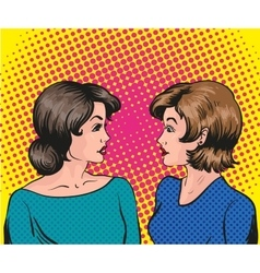 Pop art retro comic two woman vector