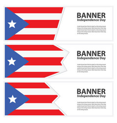 Puerto rico flag banners collection independence vector