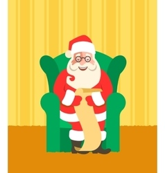 Santa claus in chairreads naughty or nice list vector