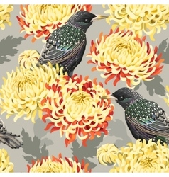 Seamless chrysanthemum and birds vector image