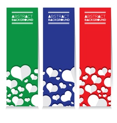 Set Of Three Colorful White Hearts Vertical Banner vector image vector image