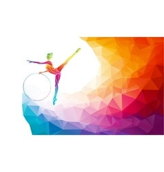 Silhouette of gymnastic girl on rainbow back vector