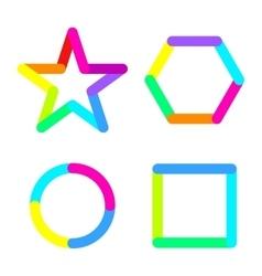 Star circle rhomb square logo sign symbol set vector image