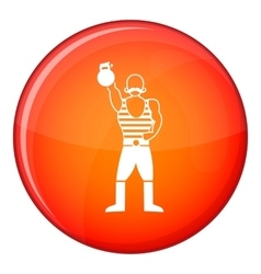 Strong man with kettlebell icon flat style vector
