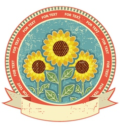 Sunflowers symbol on old paper textureVintage vector image vector image