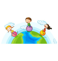 Three kids playing ball on earth vector