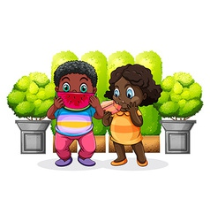 Two black kids eating vector image