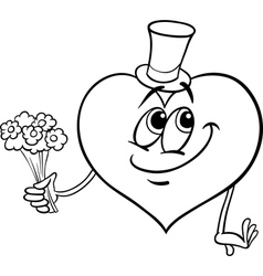valentine heart with flowers coloring page vector image vector image