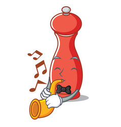 With trumpet pepper mill character cartoon vector