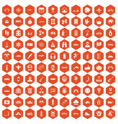 100 adventure icons hexagon orange vector