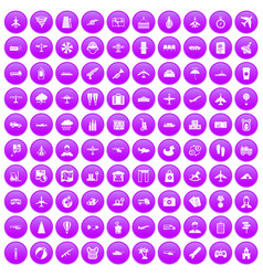 100 plane icons set purple vector