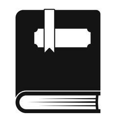 Thick book with bookmark icon simple style vector